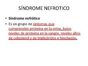 SNDROME NEFROTICO Sndrome nefrtico Es un grupo de