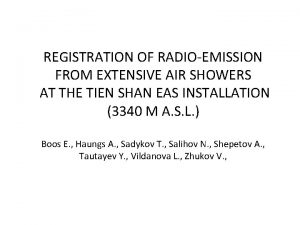 REGISTRATION OF RADIOEMISSION FROM EXTENSIVE AIR SHOWERS AT