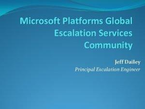 Microsoft Platforms Global Escalation Services Community Jeff Dailey
