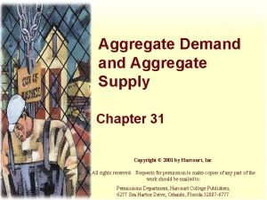 Aggregate Demand Aggregate Supply Chapter 31 Copyright 2001