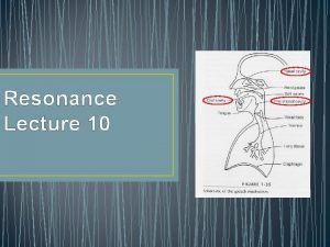 Resonance Lecture 10 Resonance 3 Types Pharyngeal Oral