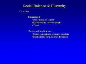 Social Balance Hierarchy Overview Background Basic Balance Theory