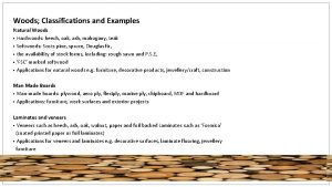 Woods Classifications and Examples Natural Woods Hardwoods beech
