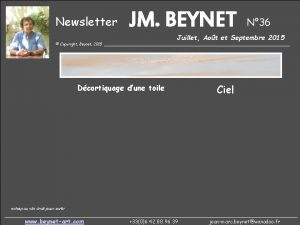 Newsletter JM BEYNET N 36 Juillet Aot et