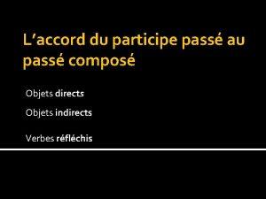 Laccord du participe pass au pass compos Objets