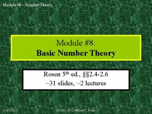 Module 8 Number Theory Module 8 Basic Number