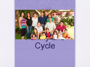 Family Life Cycle What is the cycle The