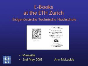 EBooks at the ETH Zurich Eidgenssische Technische Hochschule