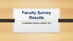 Faculty Survey Results ELEARNING COUNCIL SPRING 2015 2014