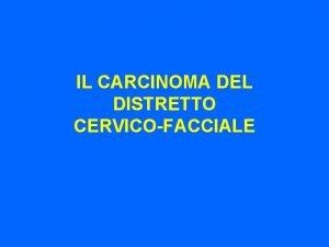IL CARCINOMA DEL DISTRETTO CERVICOFACCIALE Nuove opzioni terapeutiche