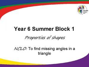 Year 6 Summer Block 1 Properties of shapes