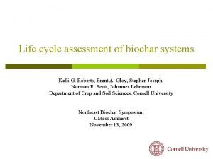 Life cycle assessment of biochar systems Kelli G