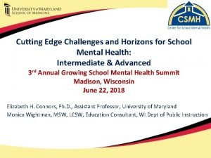Cutting Edge Challenges and Horizons for School Mental