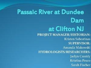 Passaic River at Dundee Dam at Clifton NJ