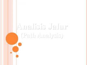 Analisis Jalur Path Analysis ANALISIS JALUR Berkaitan dengan