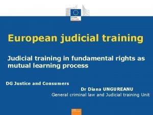 European judicial training Judicial training in fundamental rights