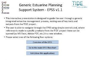 Generic Estuarine Planning Support System EPSS v 1