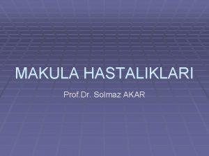 MAKULA HASTALIKLARI Prof Dr Solmaz AKAR MAKULA HASTALIKLARI