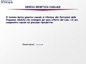 DERIVA GENETICA CASUALE Il termine deriva genetica casuale