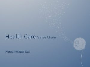 Health Care Value Chain Professor William Wan Value