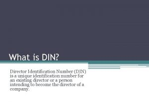 What is DIN Director Identification Number DIN is