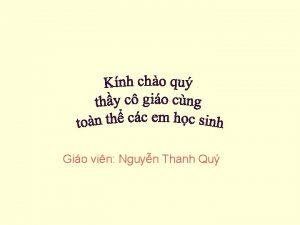 Gio vin Nguyn Thanh Qu Kim tra bi