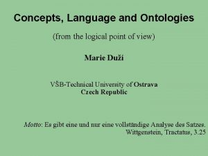 Concepts Language and Ontologies from the logical point