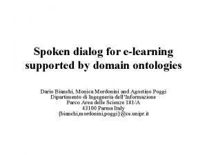 Spoken dialog for elearning supported by domain ontologies