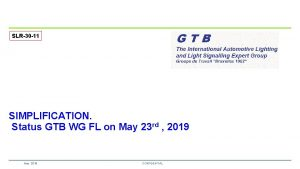 SLR30 11 SIMPLIFICATION Status GTB WG FL on