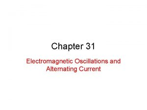 Chapter 31 Electromagnetic Oscillations and Alternating Current 31