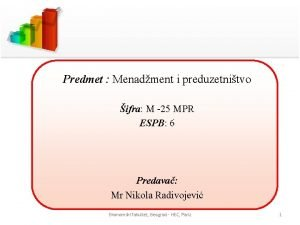 Predmet Menadment i preduzetnitvo ifra M 25 MPR