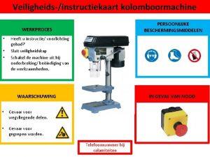 Veiligheidsinstructiekaart kolomboormachine PERSOONLIJKE BESCHERMINGSMIDDELEN WERKPROCES Heeft u instructie