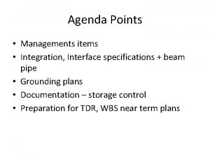 Agenda Points Managements items Integration Interface specifications beam