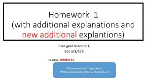 Homework 1 with additional explanations and new additional