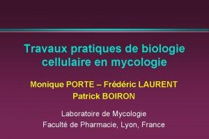 Travaux pratiques de biologie cellulaire en mycologie Monique
