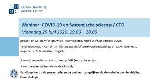 Webinar COVID19 en Systemische sclerose CTD Maandag 29