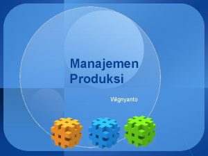 Manajemen Produksi Wignyanto LOGO Faktor Produksi Dalam melakukan