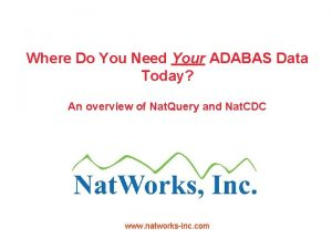 Where Do You Need Your ADABAS Data Today