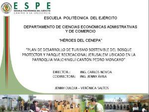 ESCUELA POLITCNICA DEL EJRCITO DEPARTAMENTO DE CIENCIAS ECONMICAS
