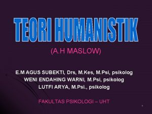 A H MASLOW E M AGUS SUBEKTI Drs