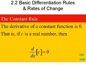 2 2 Basic Differentiation Rules Rates of Change