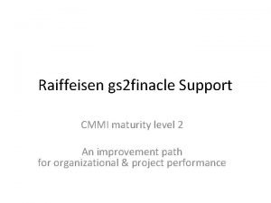 Raiffeisen gs 2 finacle Support CMMI maturity level