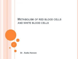 METABOLISM OF RED BLOOD CELLS AND WHITE BLOOD