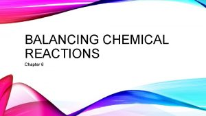 BALANCING CHEMICAL REACTIONS Chapter 6 CHEMICAL REACTIONS Signal