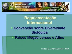 Regulamentao Internacional Conveno sobre Diversidade Biolgica Pases Megadiversos