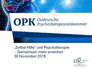 SelbstHilfe und Psychotherapie Gemeinsam mehr erreichen 30 November
