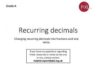 Grade A Recurring decimals Changing recurring decimals into