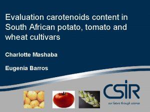 Evaluation carotenoids content in South African potato tomato