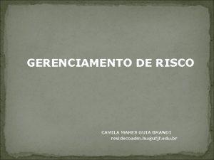 GERENCIAMENTO DE RISCO CAMILA MARES GUIA BRANDI residecoadm