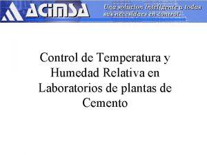 Control de Temperatura y Humedad Relativa en Laboratorios